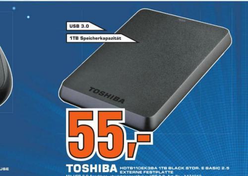 [ Saturn Nürnberg & Fürth ] Toshiba HDTB110EK3BA STOR.E Basics 1TB externe Festplatte (6,4 cm (2,5 Zoll) USB 3.0) schwarz 55€  und für 5€ eine Microsoft Wireless Mobile Mouse 1000