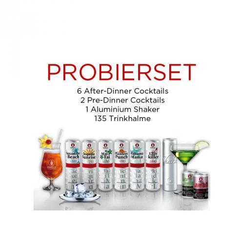 8 fertige Cocktails (Connelly Cocktails) + Shaker + Strohhalme