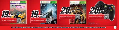 neue Angebote im Media Markt Onlineshop (z.B. Forza Horizon oder Halo 4 für 19 €, Xbox 360 Wireless Controller 20 €, Gears of War Judgement 29 €, Toshiba Satellite L850-1K0 579 €, Fujifilm JX 500 14 MP 39 €)