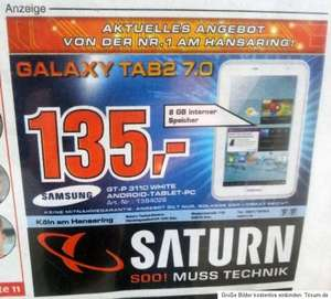 Samsung Galaxy Tab 2 7.0 WiFi GT-P3110 8GB Android Tablet PC in weiß 135€ *LOKAL Saturn Köln*
