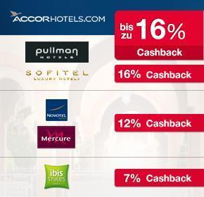 Doppeltes Cashback auf alle Marken von Accorhotels (Ibis, Novotel, Mercure, Sofitel, Pullman) – z.B. 16% auf alle 5-Sterne Hotelmarken
