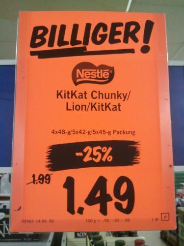 Kit Kat Chunky/ Kit Kat/ Lion für 1,49 @ Lidl