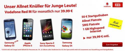 Nochmal da! Vodafone Red M mit 50 Euro Startguthaben und verschiedene Top Handys! Teilweise mit bis zu 170€ Auszahlung! Junge Leute 18-25 Jahre