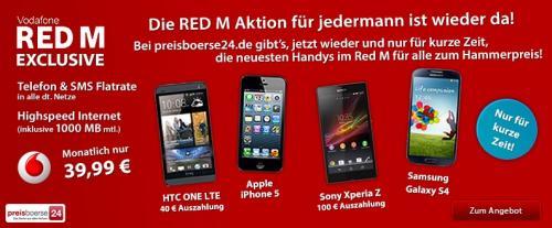 Vodafone Red M für Alle 39.99€ smartphone bis zu 240€ Auszahlung * Sasmung Galaxy S4 1€