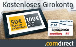 Girokonto bei Comdirekt, jetzt wieder mit 50,-€ Best-Choice-Gutschein über GMX-Konto + 50,-€ Startgutschrift (siehe Bedingungen)