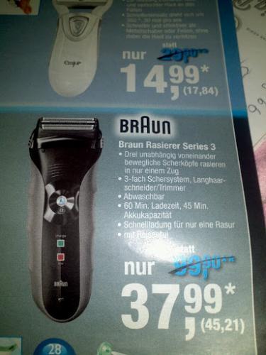 [Metro]  Braun Rasierer Series 3 Special Edition für 45,21€ (37,99*)