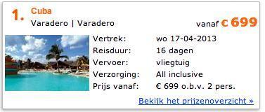 Reise: Kuba (Varadero) 16 Tage (14 Nächte) mit 24 Std. Ultra All Inclusive - Abflug am 17.04.2013 ab Amsterdam