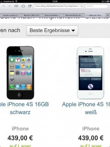 iPhone 4S 16gb Schwarz und Weiß für 402,99 € inkl. Versand