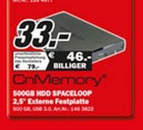 "[Lokal] CnMemory 500GB 2,5"" USB3  33€ - MediaMarkt Rostock Brinkmannsdorf"