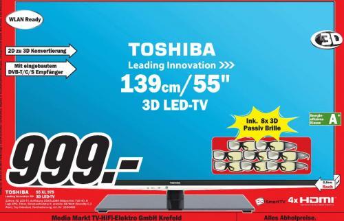 [ MM Krefeld ] Toshiba 55XL975 55 Zoll LED 4x HDMI 1.4,  2x USB, LAN, DVB-C/-T/-T2/-S/-S2-Tuner 3D, 400Hz, DLNA-Client, HbbTV, USB-Recorder,  inkl 8 3D-Brillen