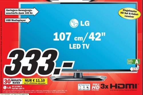 [MM Homburg ]  LG 42LS560S 107 cm (42 Zoll) LED-Backlight-Fernseher, EEK A (Full-HD, 100Hz MCI, DLNA, DVB-T/C/S) schwarz 333€