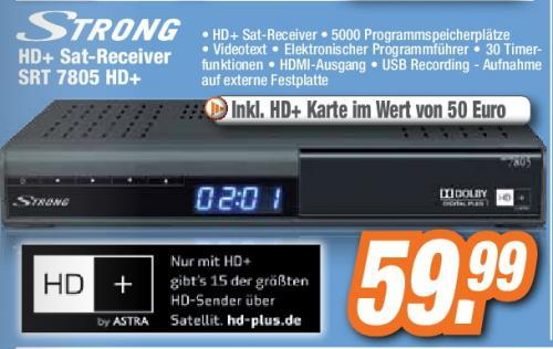 [   EXPERT ] Strong SRT 7805 HD+ HDTV Digitaler Satelliten-Receiver (HD+, DVB-S2, PVR-Ready, USB 2.0, 1x SCART-Anschluss, HDMI, SAT IN, inkl. HD+ Karte für 1 Jahr) schwarz