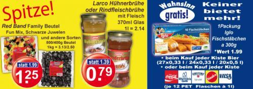 [Regional] Packung Iglo Fischstäbchen gratis zu 12*1l Sinalco 6,99€, 20*0,5l Veltins 10,99€ und anderen Kisten. Red Band Family-Beutel 1,25€.