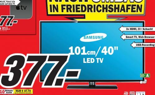 [ MM Friedrichshafen ]  Samsung UE40ES5700 101 cm (40 Zoll) LED-Backlight-Fernseher, EEK A (Full-HD, 100Hz CMR, DVB-T/C/S2) schwarz 377€