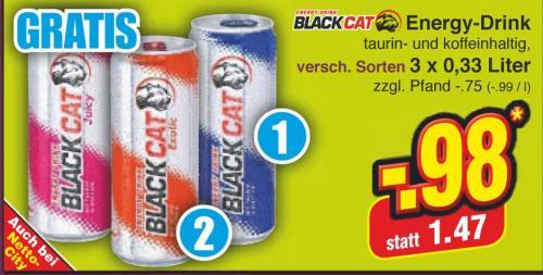 BlackCat Energy Drink je 0,33l  3 zum Preis von 2.