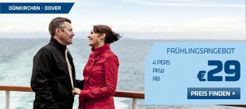 Fähre nach England: Dunkerque-Dover 29,- € PKW incl. 4 Personen (April-Mai)