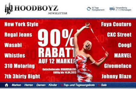 90% auf 16 Marken bei hoodboyz