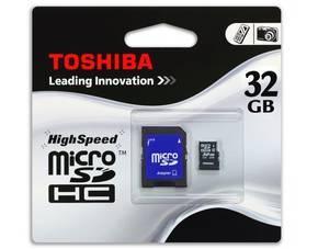 32GB TOSHIBA microSDHC™-Karte (Class 4)  +   SDHC-Adapter  @Meinpaket.de 18,19