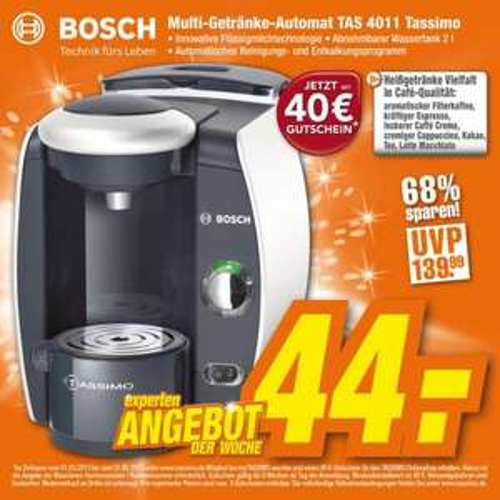 Kapselmaschine TAS 4011 Tassimo ab 44 Euro inkl. 40-Euro-Gutschein! [expert online & im Fachmarkt]