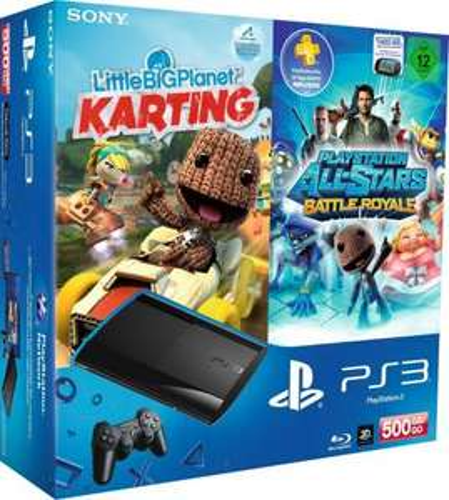 PlayStation 3 Konsole mit DualShock 3 Wireless Controller (500 GB + Little Big Planet Karting + Battle Royale) @ Amazon (+ 20€ Rabatt auf ausgewählte Spiele)