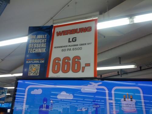 "Saturn Köln (Hansaring): LG PA6500 60"" Plasma-TV = 666,-€"