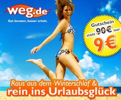 90-€-Reisegutschein für weg.de für 9€