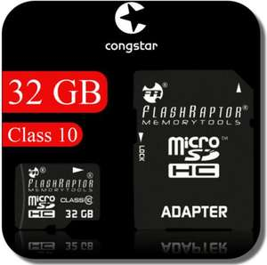 congstar Prepaid & 32 GB FlashRaptor Micro SDHC class 10 UHS Karte & SD Adapter