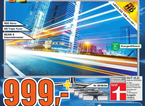 [Saturn Reutlingen  ]   Samsung UE55ES6990SXZG LED-TV LED-TV, 400 Hz, DVB-T/C/S2, PVR, 3D + 4 Brillen  999€