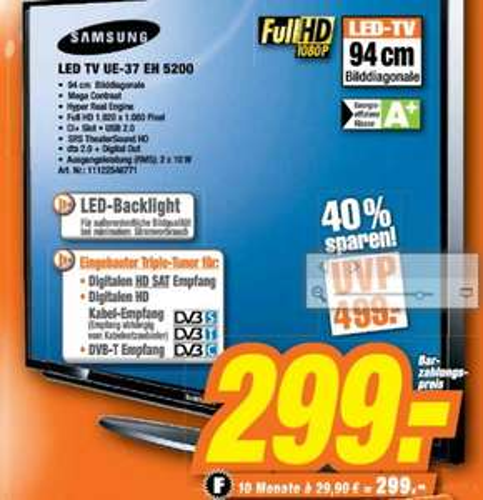 [Expert Steinfurt]  Samsung UE37EH5200SXZG 94 cm (37 Zoll) LED-Backlight-Fernseher, EEK A (Full HD, DVB-T/C/S2)  299€