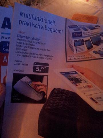 [Aldi Süd]TUKAN® Kissen für Tablet PC's und E-Book Reader für 5,99€ ab nächster Woche