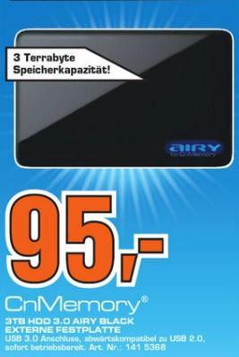 "CnMemory AIRY BLACK 3TB USB 3.0 - 3,5""HDD @Saturn Bochum & Witten"