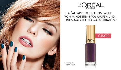 Gratis L'Oréal Paris Nagellack beim Kauf von ausgewählten L'Oréal Paris Make-Up Produkten im Wert von mindestens 10 Euro.
