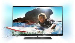Philips 55PFL6007K/12 140 cm (55 Zoll) Ambilight 3D LED-Backlight-Fernseher, EEK A++ (Full-HD, 400 Hz PMR, DVB-T/C/S2, CI+, WiFi, Smart TV) schwarz
