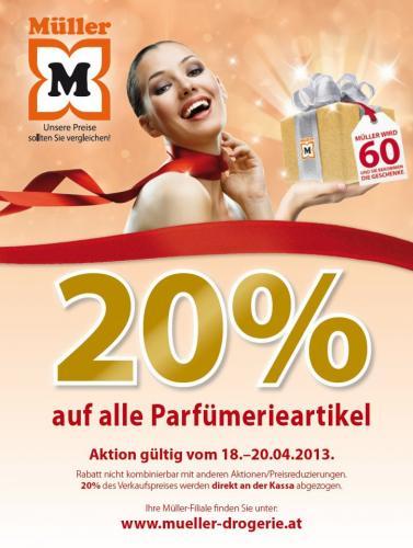 """[Österreich] -20% auf alle Parfümerieartikel im Drogeriemarkt """"Müller"""""""