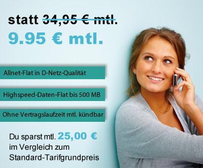 Allnet Flat im D-Netz - 500mb Volumen, 9 Cent pro SMS - mtl. kündbar