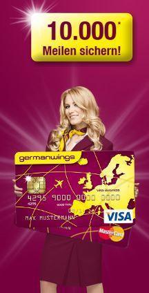 Germanwings Classic Kreditkarte 1 Jahr für lau + 10.000 Meilen umsonst
