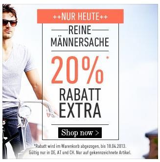 20% Rabatt auf alle Herrenartikel bei dfl + 10€ Gutschein + 6% Qipu!
