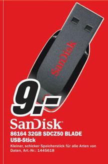 [ MM Bremen] USB Stick Sandisk Cruzer Blade 32GB USB 2.0  für 9€