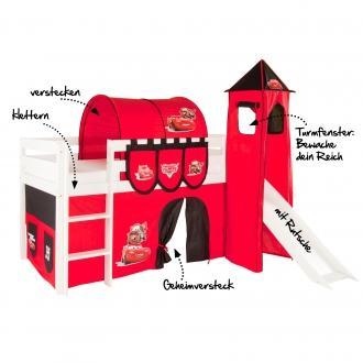 Kinder (Spiel-)Hochbett mit Motiv CARS oder FILLY mit Tunnel, Rutsche, Turm und Versteck