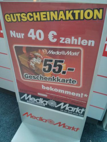[Lokal, Lingen] MediaMarkt Geschenkgutschein 55€ für 40€ max 3 pro Person