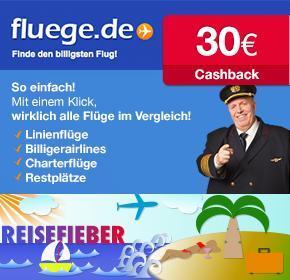 [Qipu] 30€ Cashback auf Flugbuchungen bei Fluege.de
