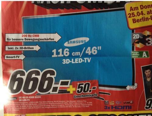 "[Lokal Berlin] 46"" TV Samsung UE46ES6300 + 50€ Geschenkkarte @Media Markt Biesdorf"
