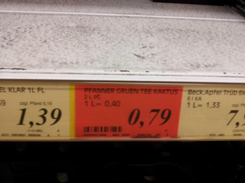 Pfanner Eistee 2 Liter für 0,79 Euro, Alpia Schoki 0,29 Euro, im Rewe in Dortmund