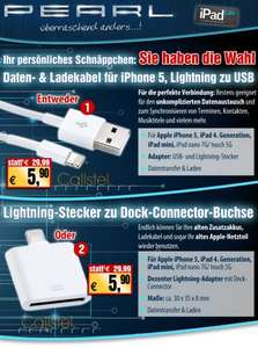 Lightning zu USB Kabel oder Lightning auf  Dock-Connector bei Pearl