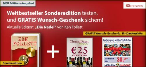 """30€ Verleihshop Gutschein + """"Die Nadel"""" von Ken Follett für 11€"""