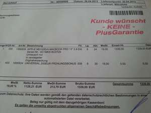 """MacBook Pro 13"""" (MD102D) für 1.339 € (bzw. 1.139 € durch MM-Gutscheinaktion)"""