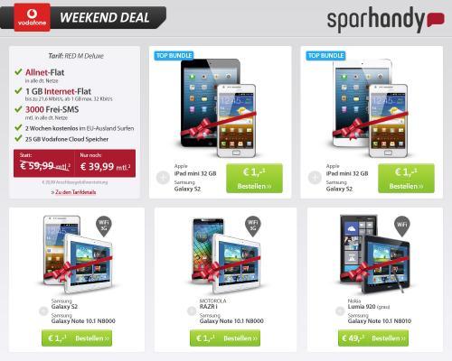 Sparhandy: Red M Deluxe + Galaxy Note 10.1 + RAZRi f.e 39,99 mtl. (Gesamtpreis 960,75€) u. andere Kombinationen