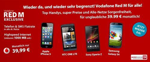 [preisboerse24.de] Vodafone Red M für Alle 39.99€ wieder aktiv! Smartphone bis zu 240€ Auszahlung