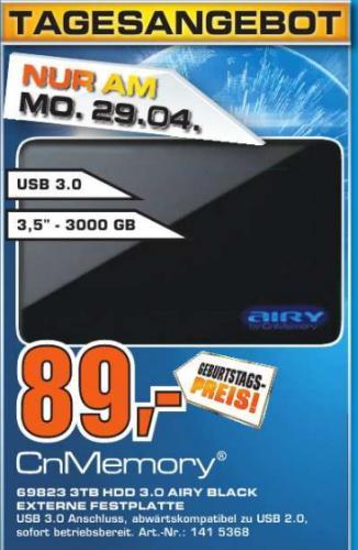[Saturn Esslingen]  3TB Festplatte  CnMemory 3.5  USB 3.0  89€  / / /  [ Bundesweit ]   CnMemory 3.5 Spaceloop USB 3.0 3TB externe HDD für 89€ - nur am 29.04.