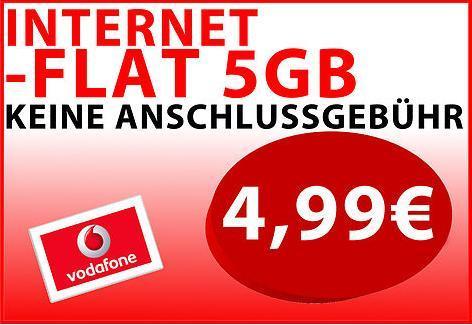 Vodafone Internet Flat 4,99€/ Monat 5GB Inklusiv Volumen